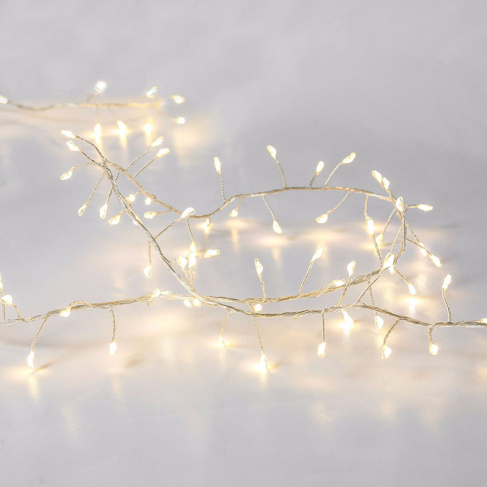 AC220V to DC12V 3M 6.3M 10M EU plug Silver Wire Tree Vine Cluster Branch LED Holiday String Light