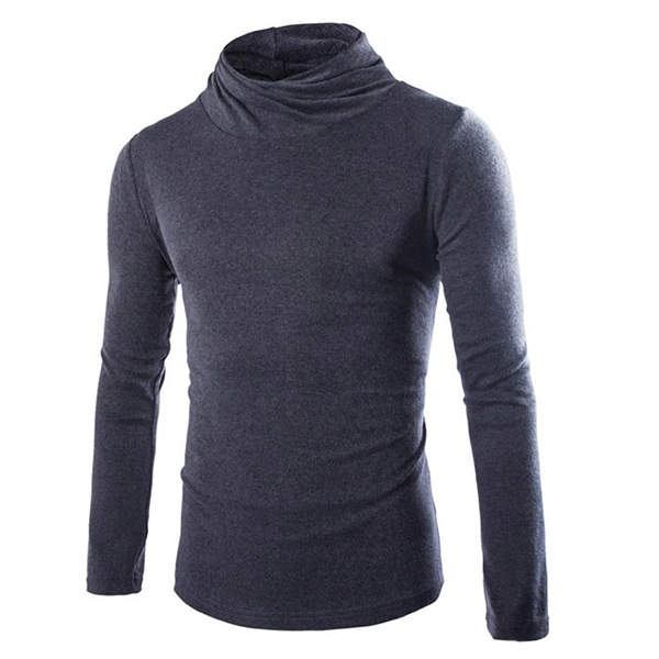 Mens Casual Turtleneck Knitted Sweater Solid Color Slim Fit Pullover Sweater
