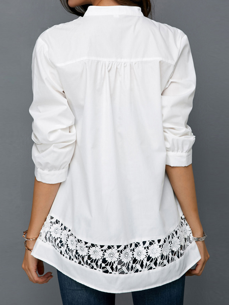 S-5XL Elegant Lace Patchwork V-neck Hollow Out Blouse