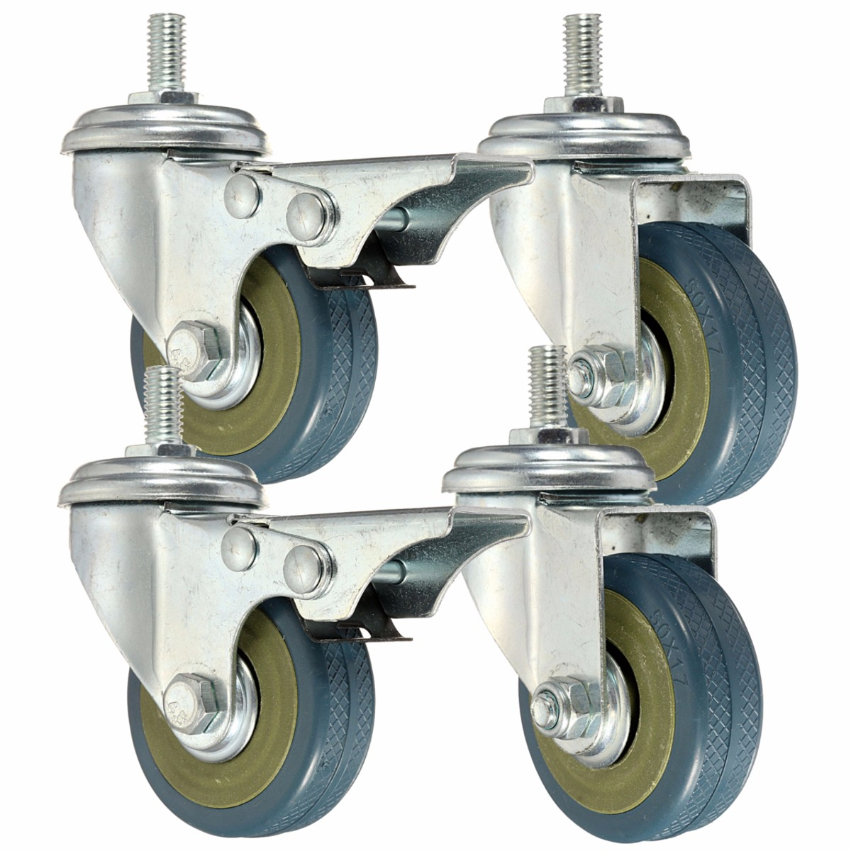 4pcs Heavy Duty Rubber Swivel Castor Wheels Trolley Furniture Caster