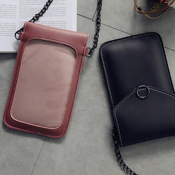 Women Pure Color Flap Phone Bag Shoulder Bags