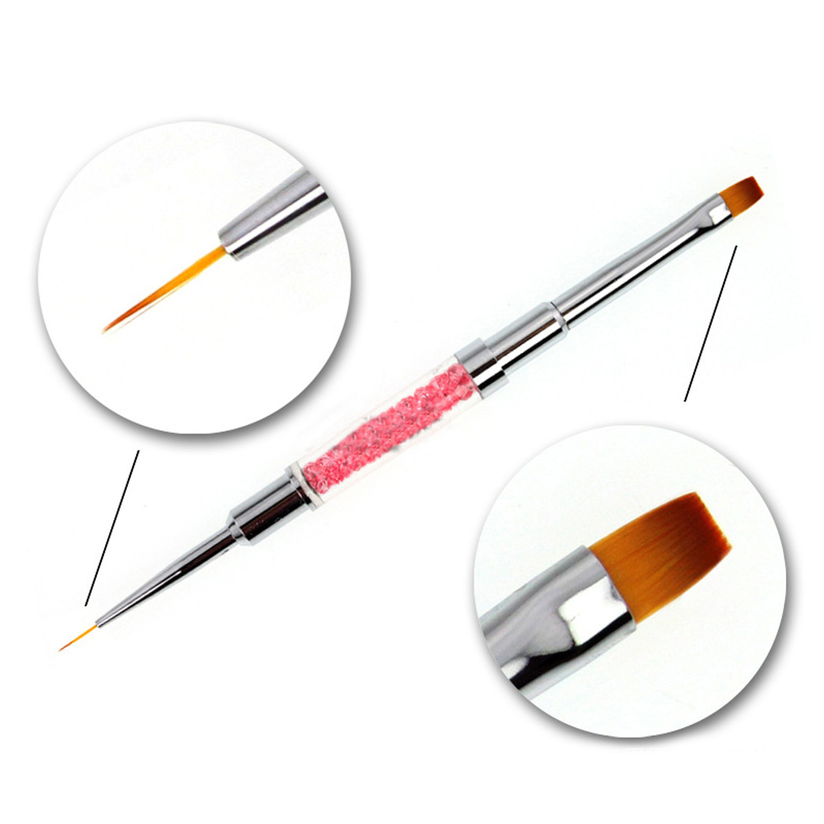 Dual Head Acrylic Nail Brushes Liner Flower Design Painting Drawing DIY Manicure Tool