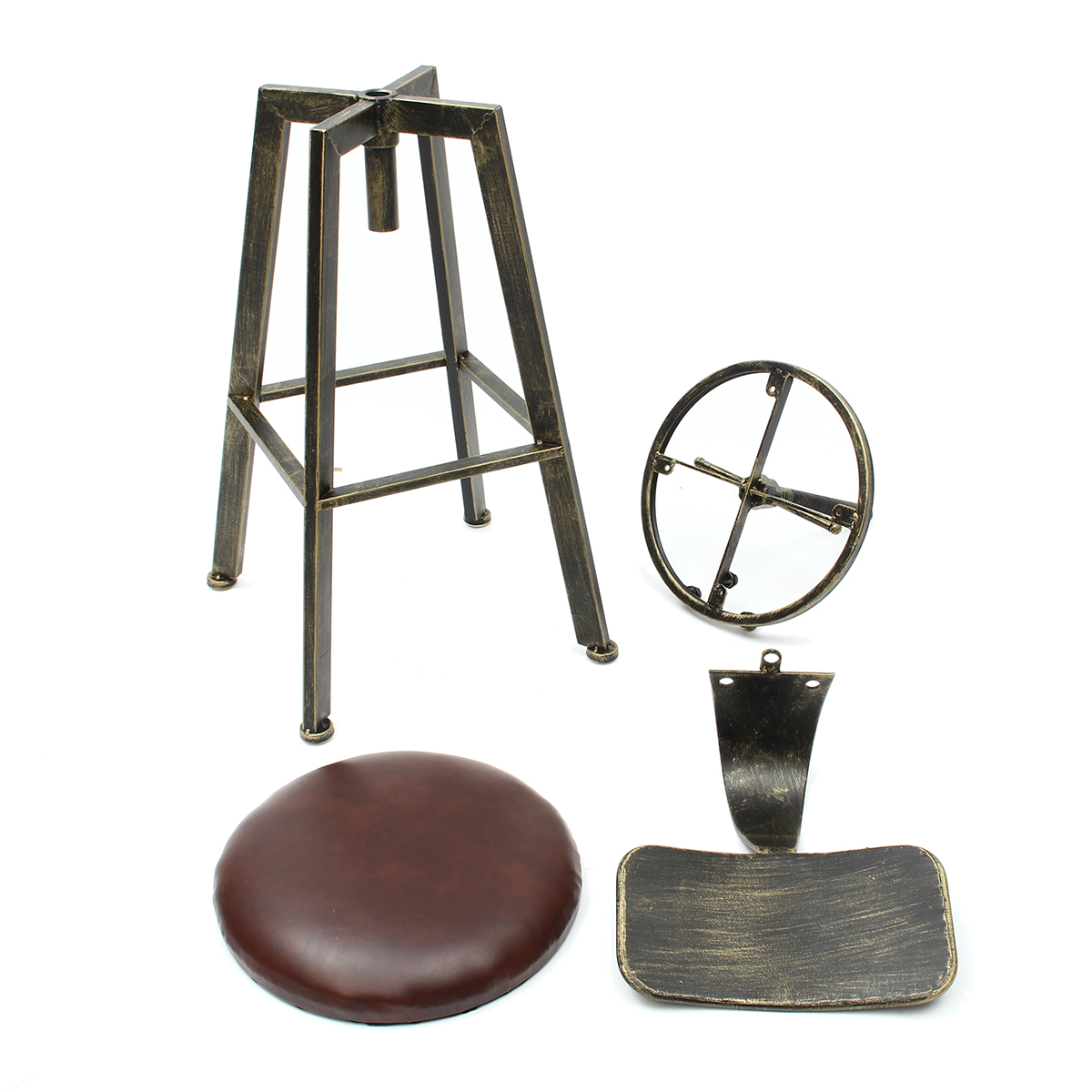 Vintage Retro Craft PU Leather Bar Stool 360 Degree Rotate Counter Lift High Chair Bar Decorations
