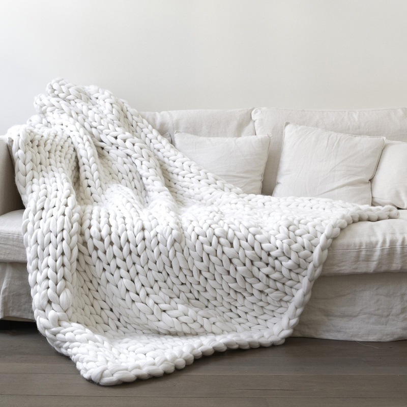 Honana WX-685 Warm Winter Luxury Handmade Crocheted Bed Knitted Sofa Cover Blanket Warm Thick Thread Blanket Knitted Quilt Home Textile Gift