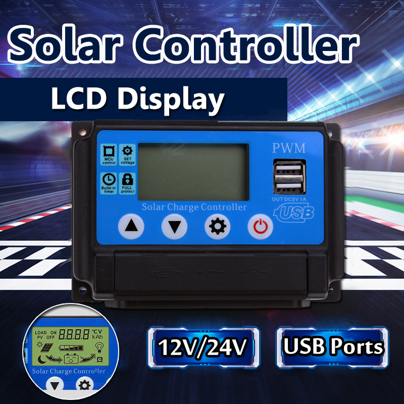 Excellway® 10/20/30/40/50A 12V 24V Auto Solar Panel Solar Charge Controller Battery Charge Adapter LCD USB