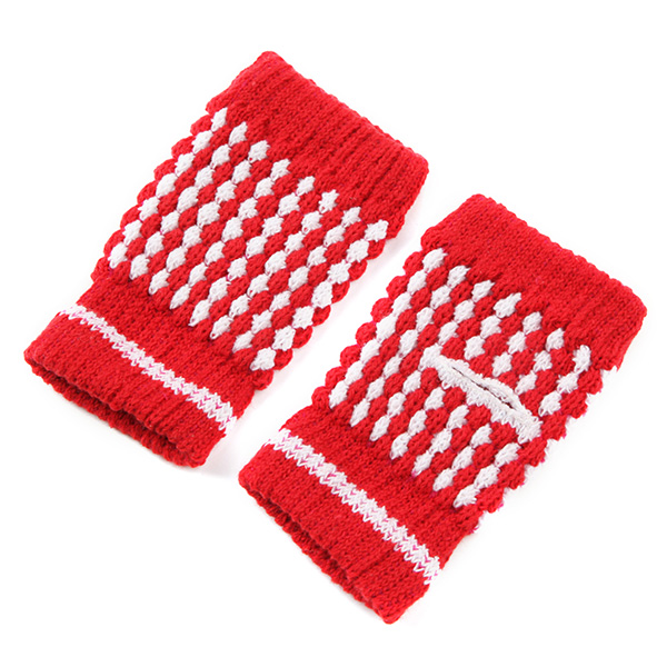 Women Girl Kniting Half Fingerless Color Mixing Screen Touch Elastic Wrist Gloves