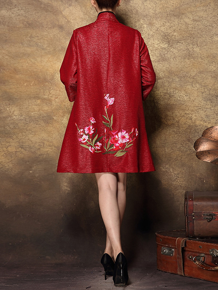 Plus Size Elegant Women Floral Embroidery Cardigans