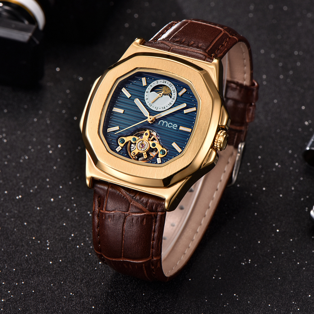 Gold Case Men Watch Moon Phase Automatic Mechanical Watch