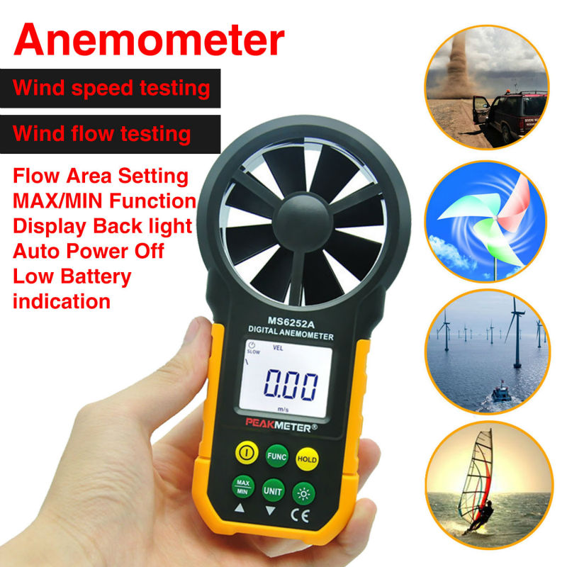 PEAKMETER MS6252A Multifunctional Digital Anemometer Air Volume Tachometer Wind Air Speed Tester