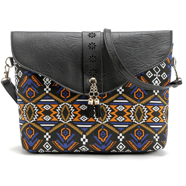 Women Faux Leather Bohemia Flap Shoulder Bag