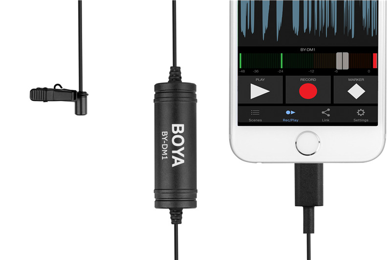BOYA BY-DM1 Digital Lavalier Microphone for Iphone X/8/8 Plus/7/7 Plus for iPad Mini 4/3/2 for iPod