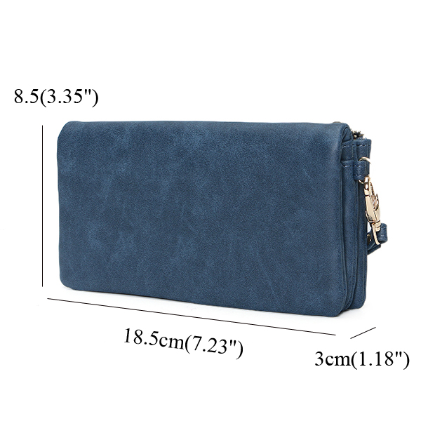 Women Double Zipper Wallets Long Dull Polish Faux Wallet