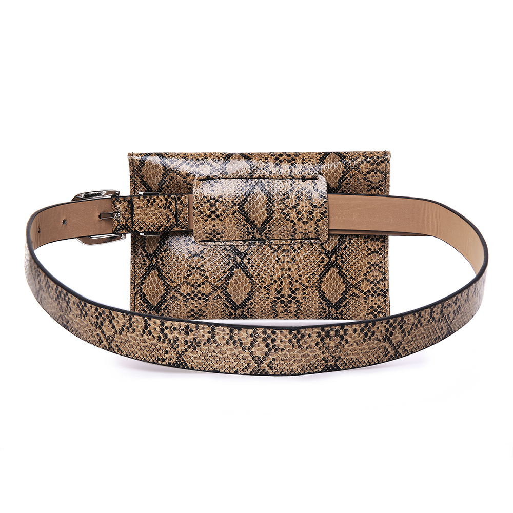 Women Snake Pattern 5.5 Inch Phone Purse Leather Waist Bag