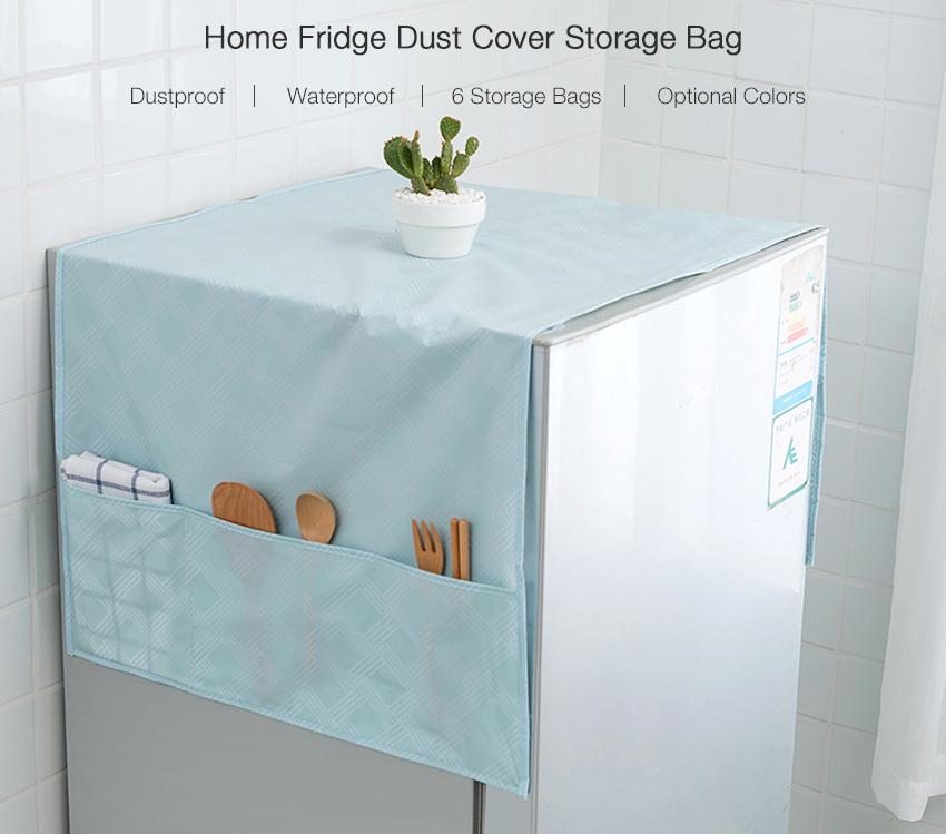 Home Kitchen PEVA Dustproof Waterproof Fridge Refrigerator Dust Cover Hanging Storage Bag