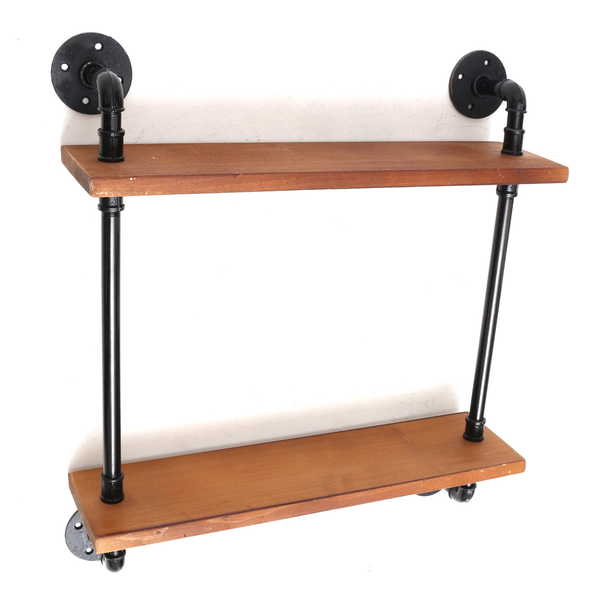 Industrial Iron Pipe Wooden Shelf Bracket Wall Mount Vintage Retro Display Storage Shelving