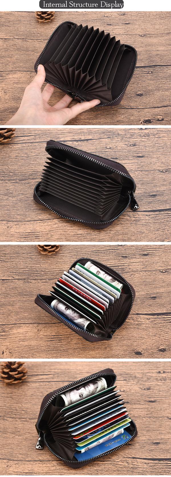 Genuine Leather Card Organ Card Holder Zipper Multi-card Bit