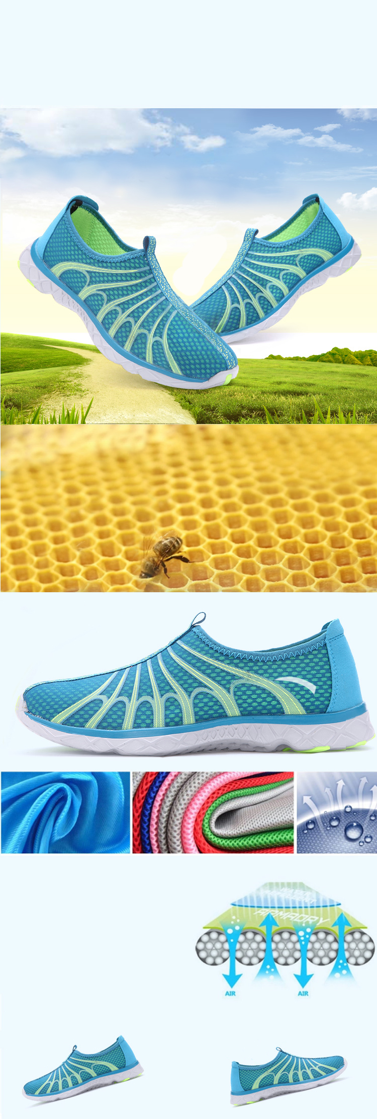 Men Sport Shoes Summer Hiking Beach Antiskid Light Hollow Out Casual In Mesh Sneakers