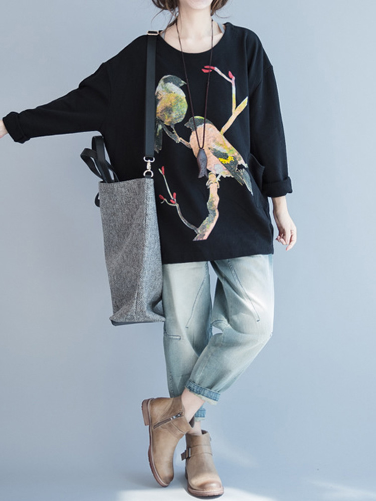 Cartoon Bird Print O-Neck Long Sleeve Loose Sweatshirt