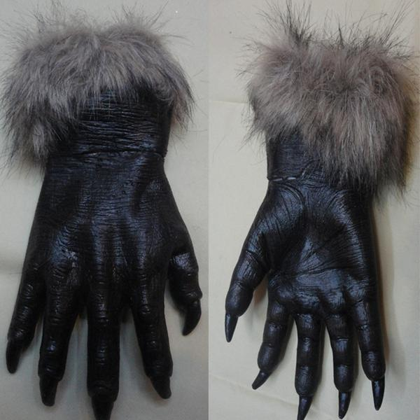 Classic Halloween Werewolf Wolf Paws Claws Cosplay Gloves Creepy Horror Devil Costume Party