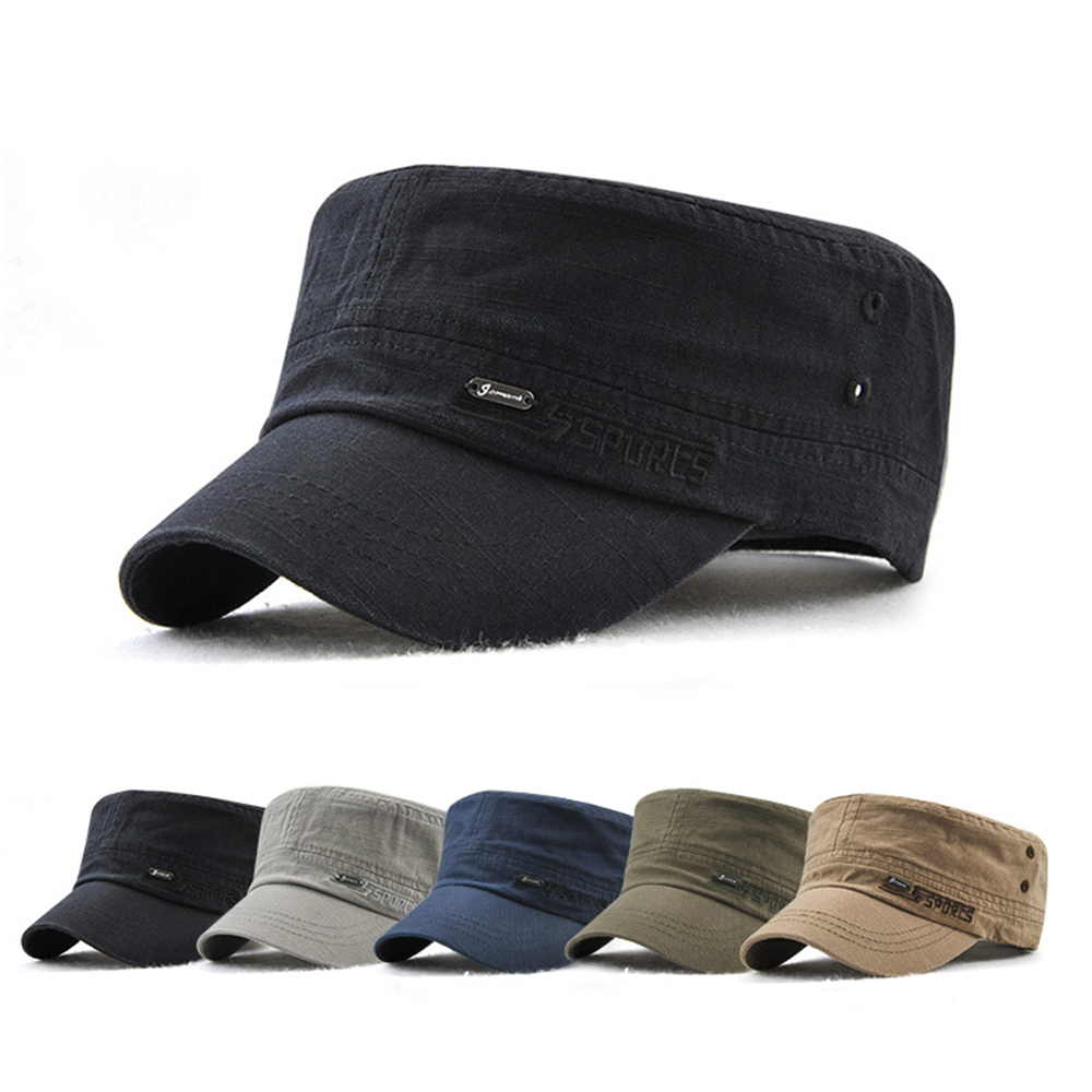 Mens Adjustable Flat Hats Peaked Cap Cadet Military Hats