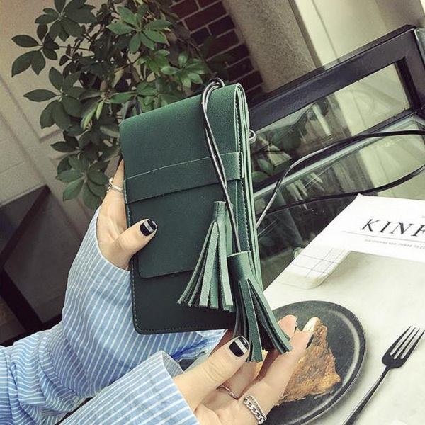 Women PU Leather Retro Tassel Quality Mini Crossbody Bag Handbag Phone Bag