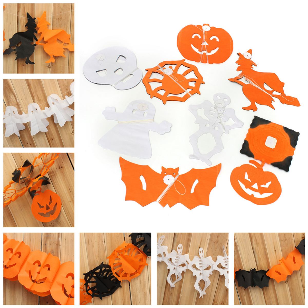 8 Styles Halloween Paper Garland Home Bar Pub Decorations Props Decal Decor