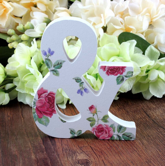 1 Set MR&MRS Rose Printed Wooden Letters Sign Table Decoration Wedding Favor Gift Accessories