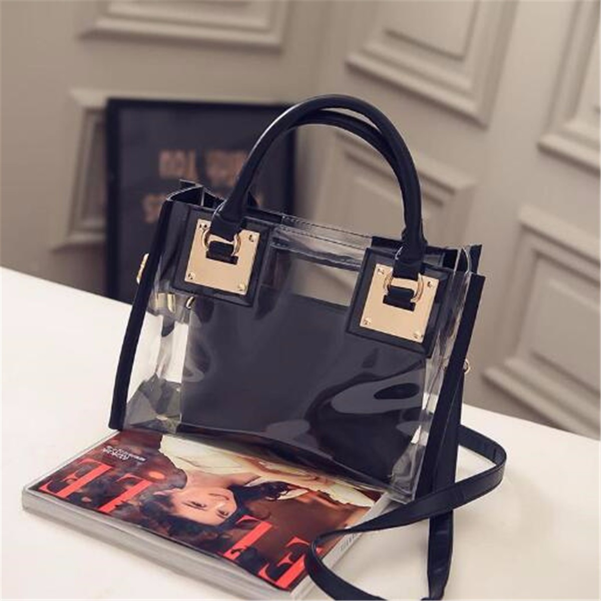 535987ee533b Outdoor Summer Beach Handbag Clear Transparent Shoulder Bag Jelly Candy  Women Messenger Tote Bag
