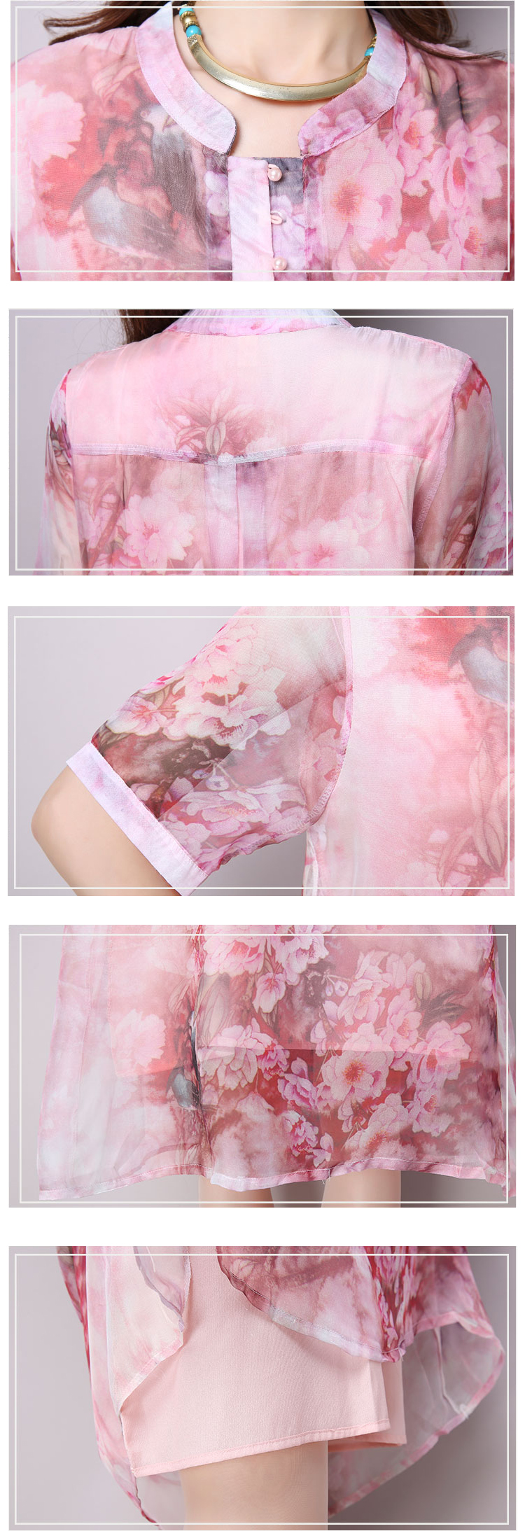 Elegant Women Short Sleeve Button Floral Printing Chiffon Dress