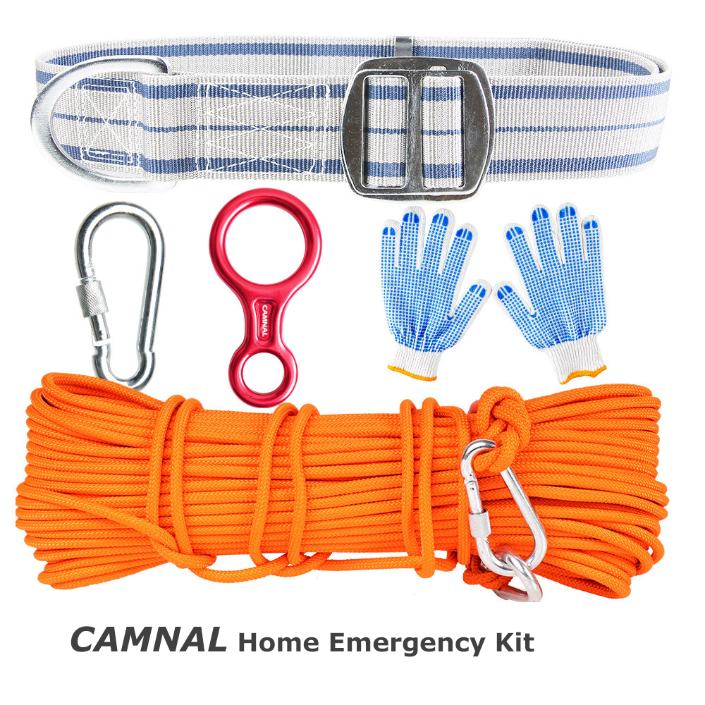 CAMNAL 10m 20m Climbing Rope Climbing Slow Descender Carabiner Belt Anti-slip Gloves Emergency Rescue Survival Kits Protection Tools