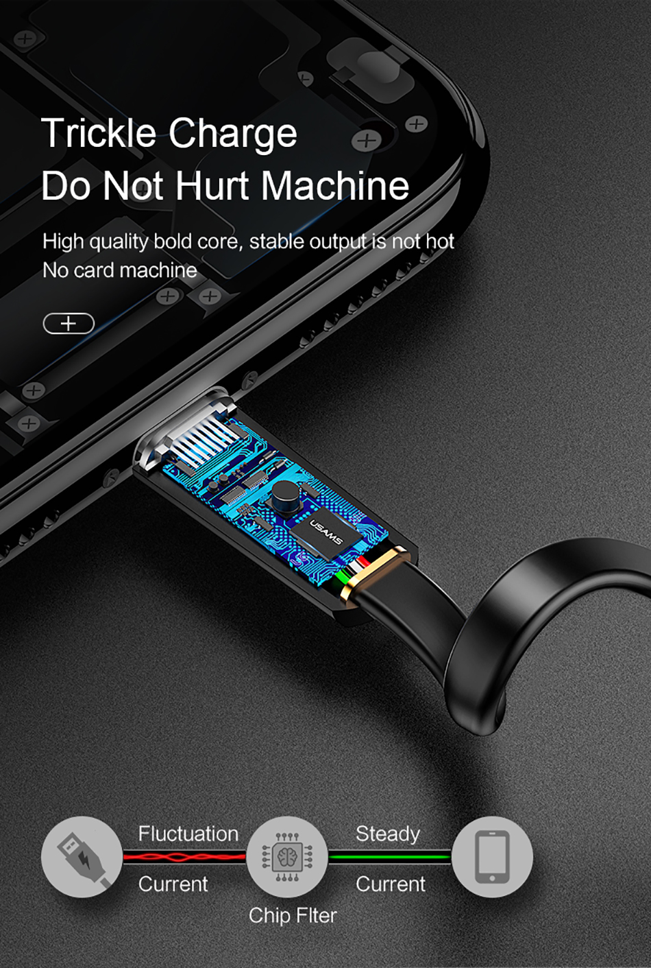 USAMS U2 Type C Flat Fast Charging Data Cable 1.2M For Oneplus 6 5t Xiaomi Mi8 Mi A1 Mix 2 S9+