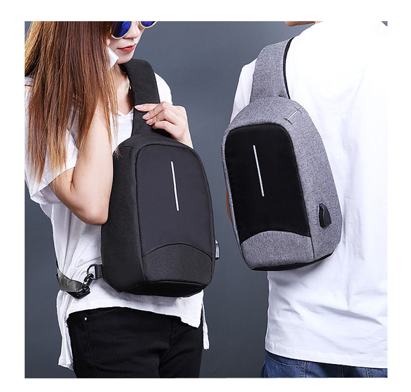 Men External USB Charging Function Sling Bag Water Repellent Anti Theft Crossboby Bag for 9.7
