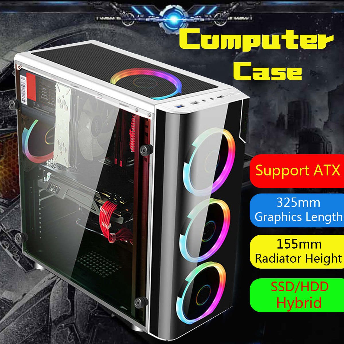 40*38*18cm USB3.0 Transparent Gaming Computer Case Support 5 Fans Chassis for ATX/M-ATX/Mini-ITX