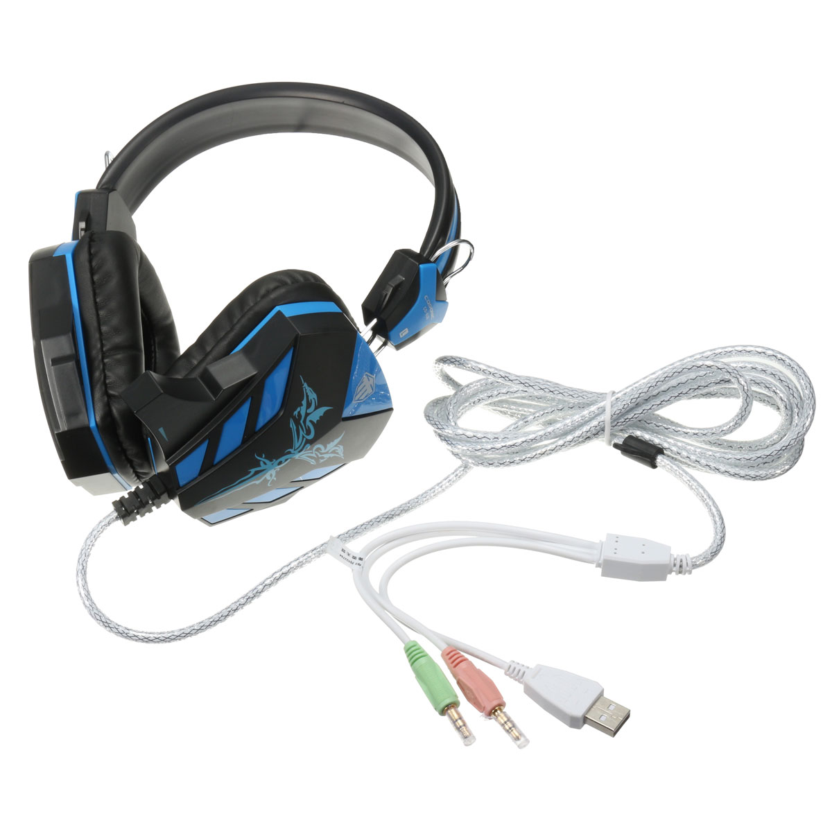 3.5mm LED Luce Gaming Headset Earphone USB Mic Stereo for Laptop Computer