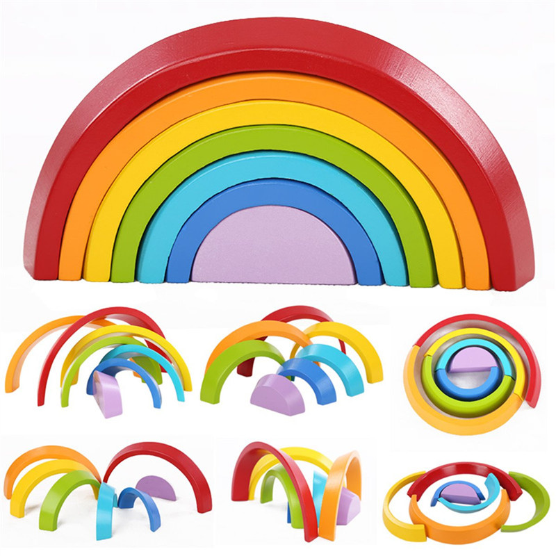 7 Colors Wooden Stacking Rainbow Shape Children Kids Educational Play Toy Set