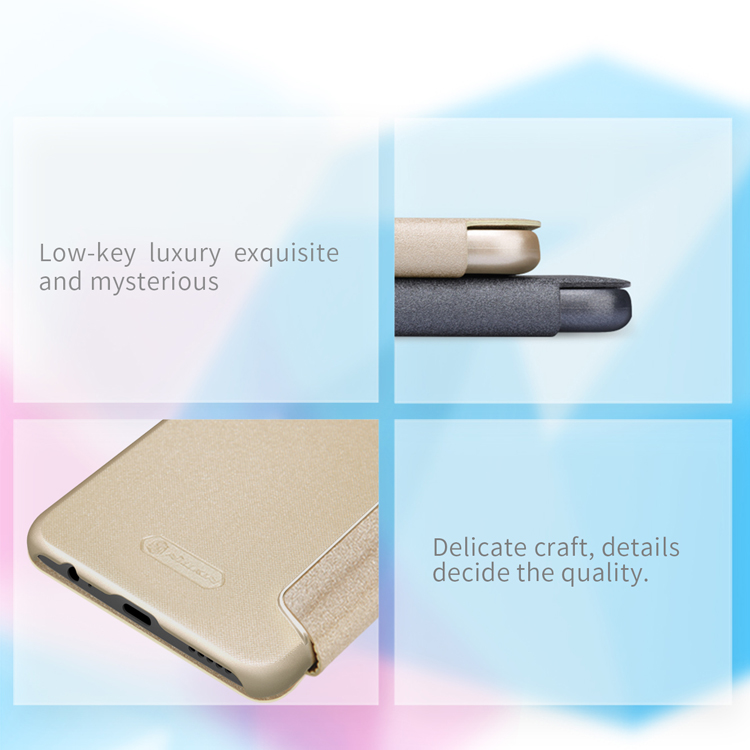 NILLKIN Sparkle Flip Smart Sleep PU Leather Protective Case With Magnetic For OnePlus 5T