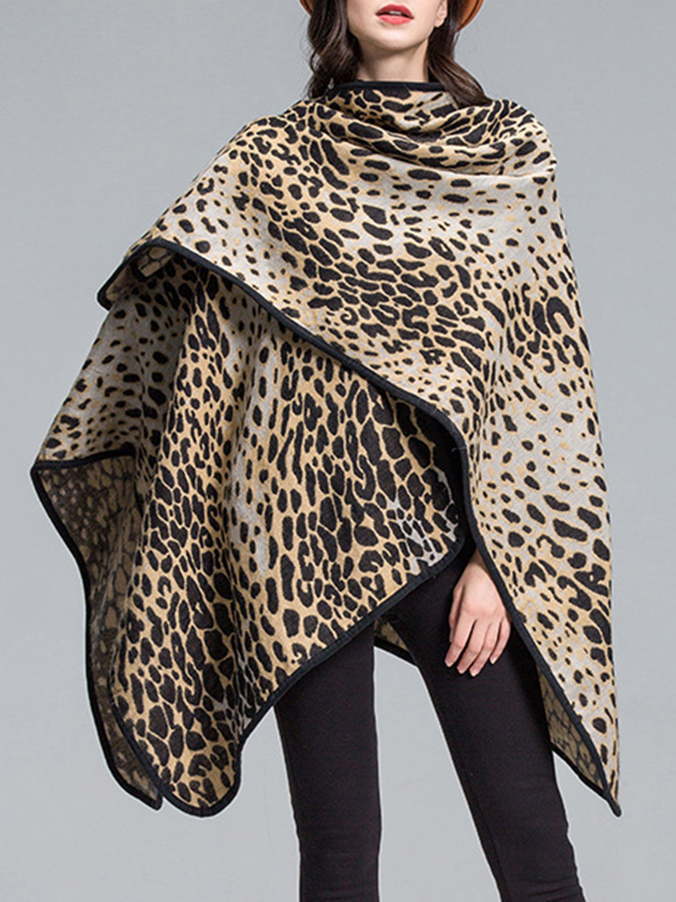 Leopard Printed Patchwork Shawl Loose Casual Cardigans