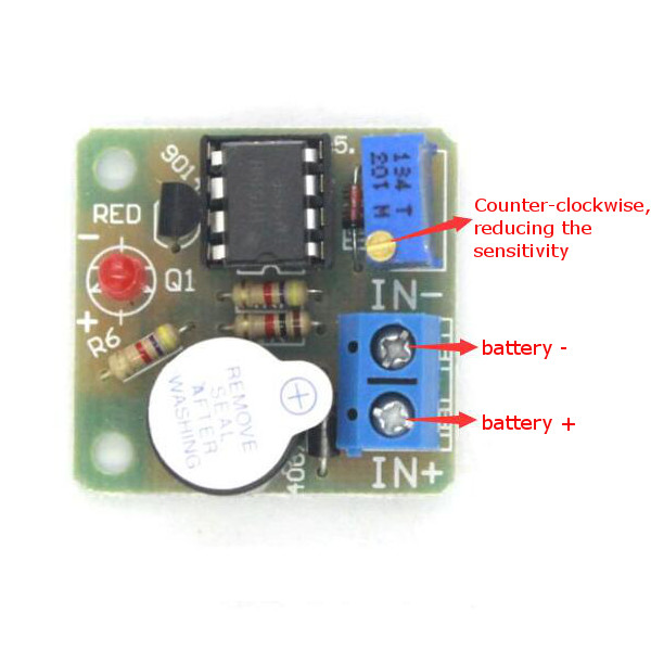 3Pcs 9V 12V Battery Sound and Light Alarm Protection Module Against Over-discharge Board