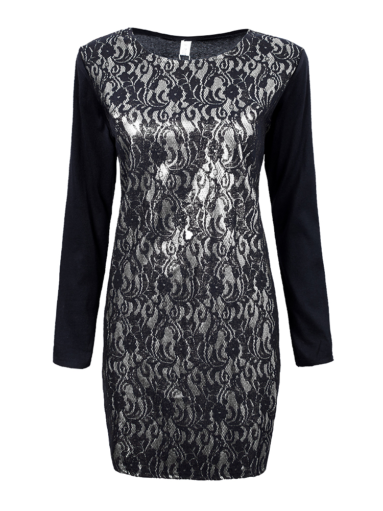 Plus Size Women O Neck Long Sleeve Lace Patchwork Dress