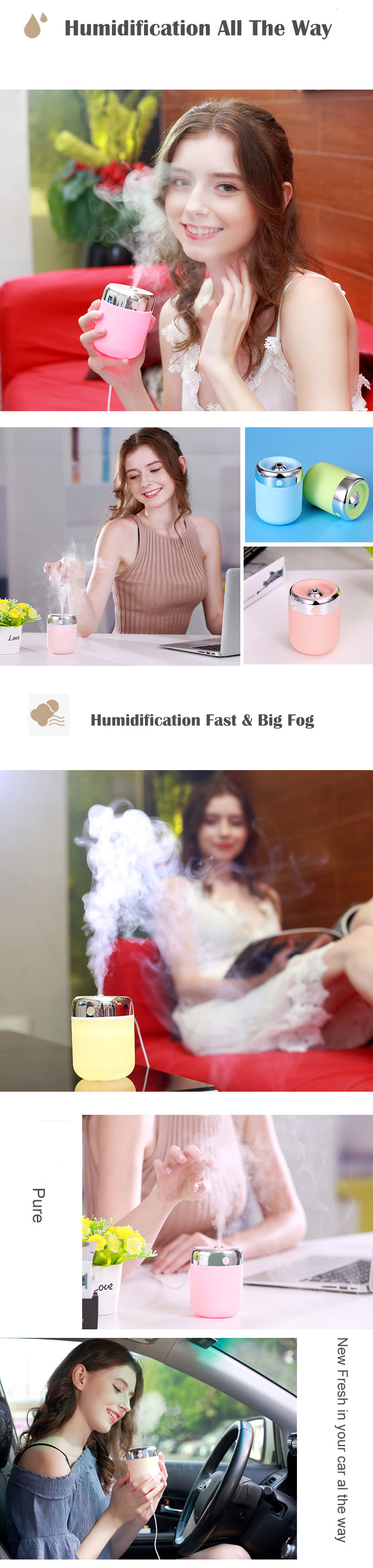 Loskii 789H Portable USB Fish Shape Anti-dry Air Humidifier Mute Night Light Aroma Ultrasonic Diffuser Air Mist Maker