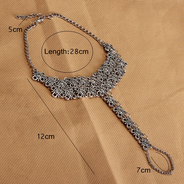 Vintage Antique Silver Flowers Beach Anklet Women Jewelry