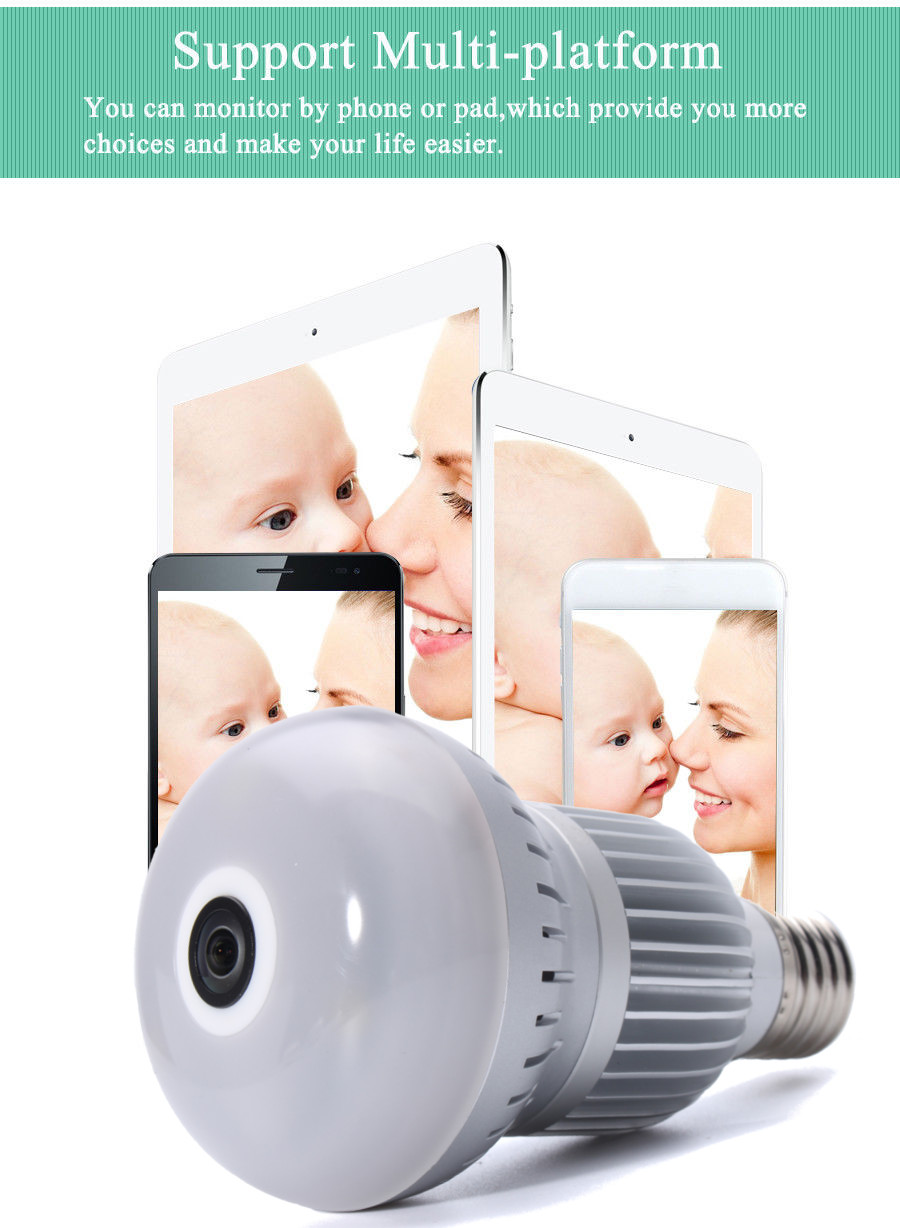 360° Wireless WiFi HD 1080P Light Bulb IP Security Camera Panoramic Motion Detect Two Way Audio 16