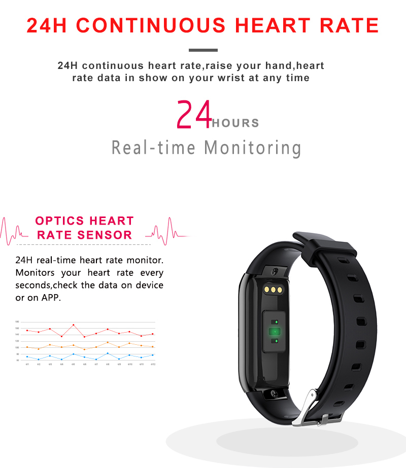 Bakeey BY22S 24H-continuous Heart Rate Monitor Pedometer Fitness Tracker bluetooth Smart Wristband