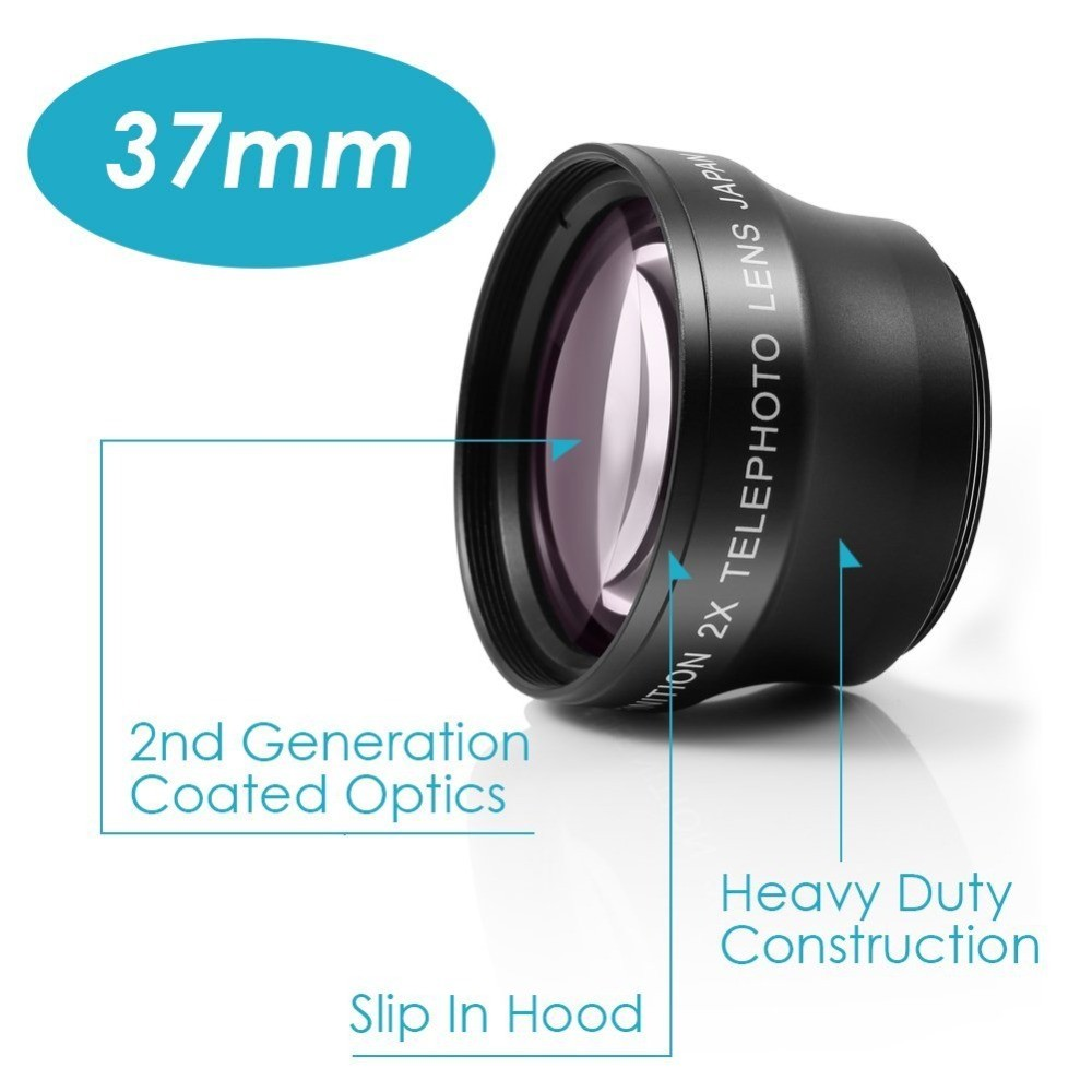 NEEWER Generic Deluxe 37mm Telephoto Lens 2X HD for Camera Camcorder with 37mm Lens Filter Thread