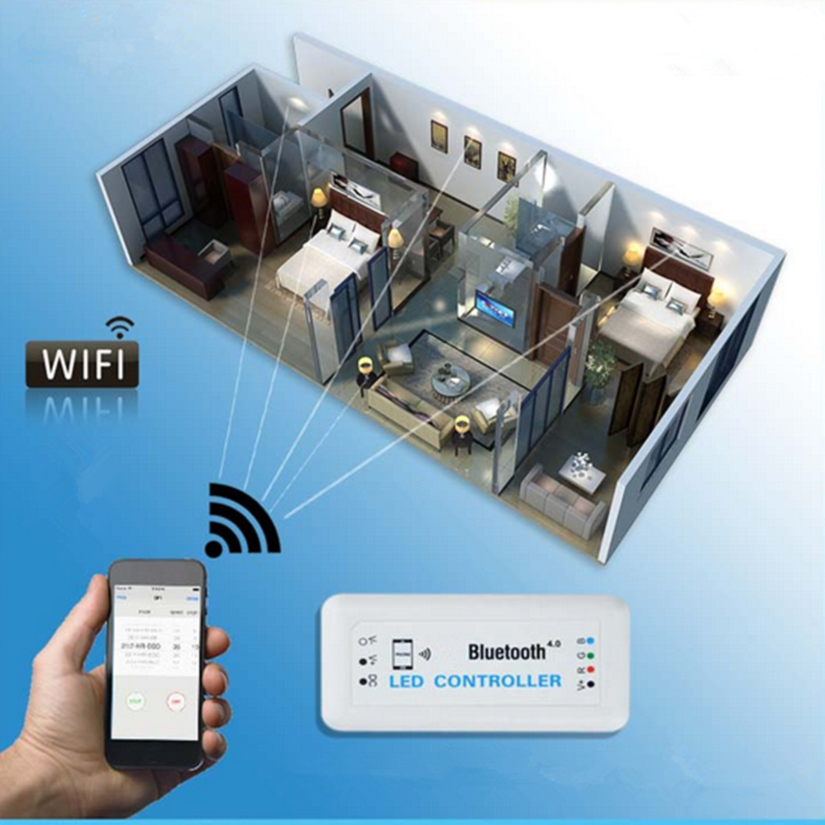Wireless bluetooth 4.0 RGB LED Strip Light Remote Controller For IOS Android