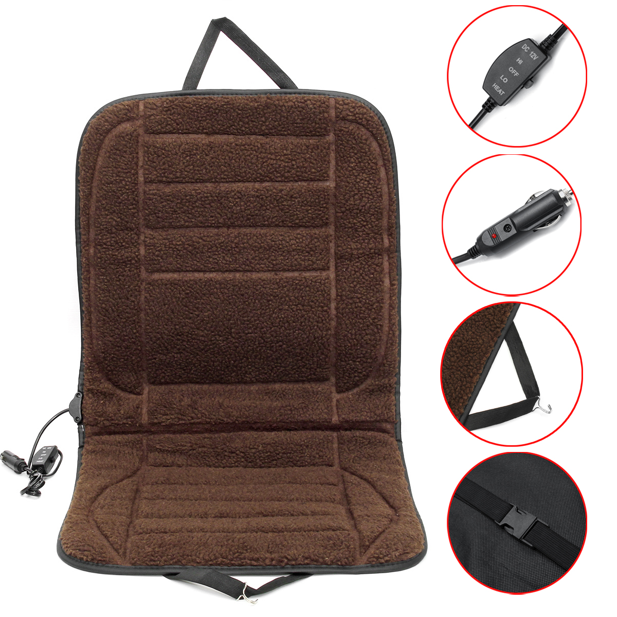 12V Car Van Front Seat Heated Cushion Seat Warmer Winter Household Cover Electric Heating Mat Brown