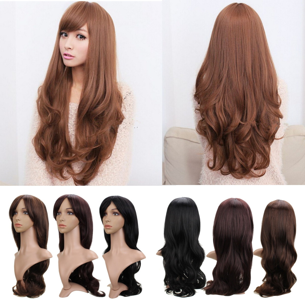 Women Long Wavy Hair Cosplay Costume Party Full Wigs