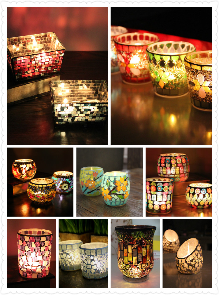 Handicraft Golden Mosaic Glass Candle Stick Candle Holder Candelabra Home Wedding Decor Gift