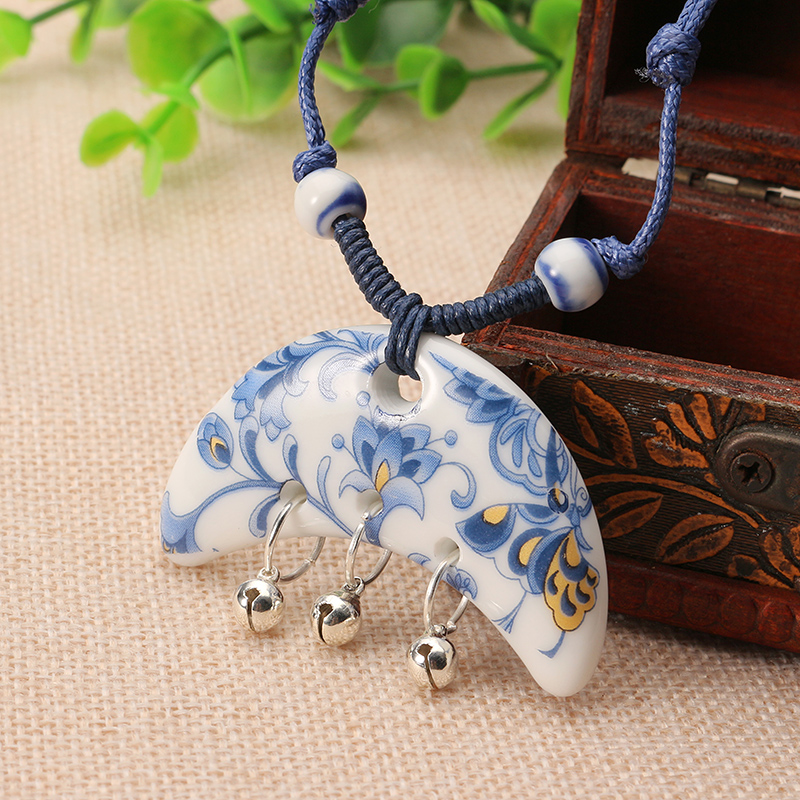 Women Jewelry Ethnic Bell Pendant Chinese Style Ceramics Flower Adjustable Necklace Sweater Chain