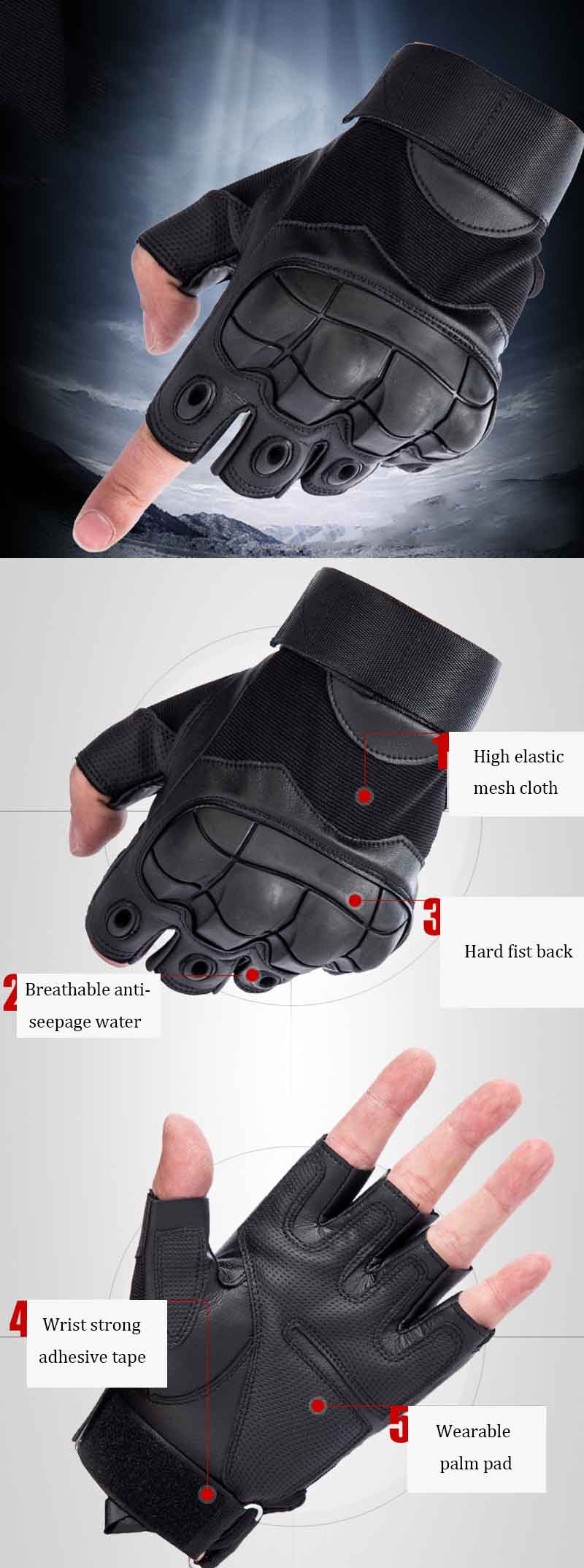1Pair KALOAD Outdoor Tactical Glove Half Finger Gloves Sports Climbing Cycling Fitness Anti-skid Gloves